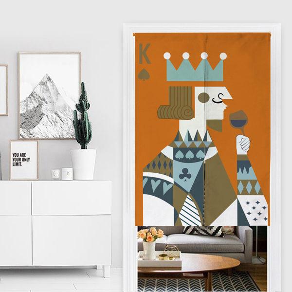 可愛時尚棉麻門簾E326 廚房半簾 咖啡簾 窗幔簾 穿杆簾 風水簾 (85cm寬*150cm高)