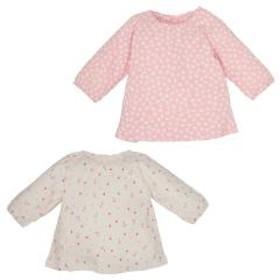 [EFD]2枚組長袖スモックTシャツ(花総柄)【新生児50-70cm】