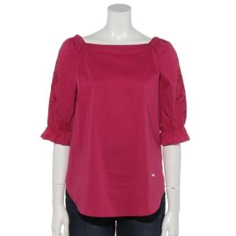 50%OFF Rose Tiara (ローズティアラ) フラワー刺繍スリーブウエストリボンブラウス ピンク
