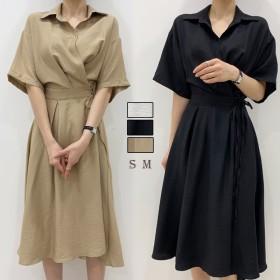 ワンピース リンネル ロング丈ワンピース 無地 ロングワンピ 韓国ファッション スカート