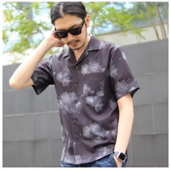 【50%OFF】 メンズビギ フラワープリントオープンカラーシャツ メンズ ブラック M 【Men's Bigi】 【セール開催中】