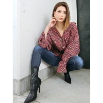 ジェイダ GYDA グランジモモンガチェックシャツ (ボルドー)