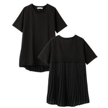 ラナン Ranan バックプリーツ切替Tシャツ (BL)