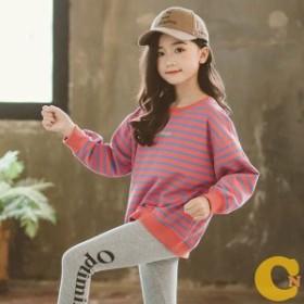 韓国子供服 スウェット Tシャツ  ゆったり 女の子 キッズ 春秋 スウィート プリント 110 -170cm