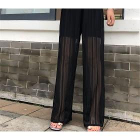 夏まで着れる トレンドデザイン 韓国ファッション 全2色 ワイド バギーパンツ チュール 体型カバー 着痩せ レース 無地 シンプル カジュアル