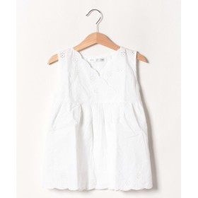【28%OFF】 イッカ ノースリスカラップ刺繍ブラウス(120~160cm) レディース ホワイト 140cm 【ikka】 【タイムセール開催中】