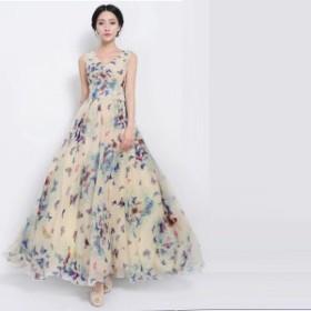 【 表示から10%OFF 】ワンピース 夏 レディース 結婚式 パーティードレス ノースリーブ ドレス ロングワンピース