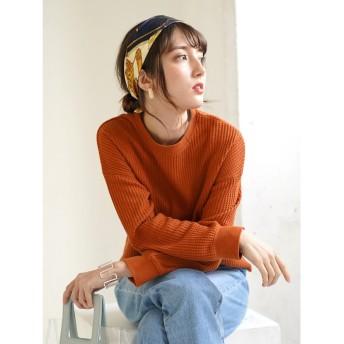 【オンワード】 koe(コエ) ワッフル長袖プルオーバー Orange F レディース 【送料無料】