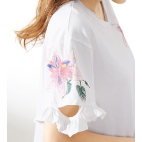 Tシャツ - kirakiraShop Tシャツ《全3色 フリル&切り込みスリーブ 花柄オーバーTシャツ》 レディース トップス Tシャツ カットソー プルオーバー 花柄フラワー 半袖 夏 フリル デザインスリーブ ゆったりサイズ 大きめ カジュアル