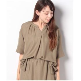 koe 【セットアップ対応商品】脇スリット入りシャツチュニック(キャメル)【返品不可商品】