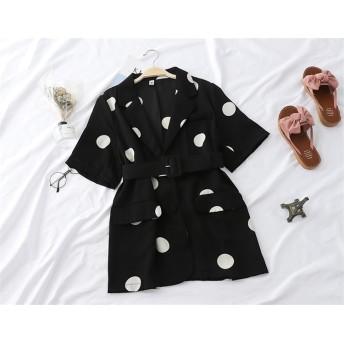 NEWタイプ登場涼しい夏の準備 韓国ファッション ドット柄ジャケット 女性 レトロ 夏用 新品 五点袖 シャツ ゆったり 細い トップス お洒落 爽やか ゆっ