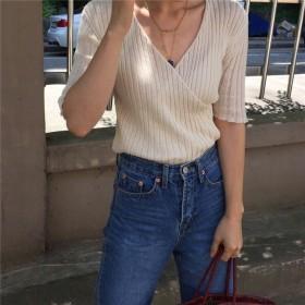 雑志で绍介されました★ 夏 新しいデザイン 韓国風 襟 ストライプス 薄いスタイル ニッティング シャツ 学生