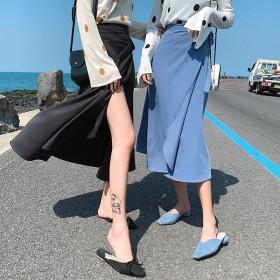 スカート ロングスカート ラップスカート 無地 オールシーズン ボトムス フレアスカート オフィスカジュアル 上品 大人可愛い 韓国ファッショ