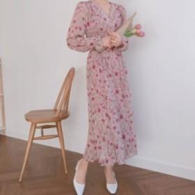 ワンピース 花柄ワンピース シフォンワンピース 大人の可愛いワンピース 花柄 ミモレ丈 可愛い 大人 長袖 体型カバー