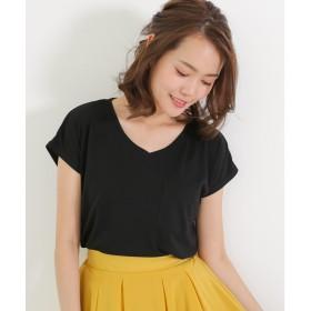ソーシャルガール Social GIRL 美ライン♪シンプルベーシックTシャツ (ブラック(Vネック))