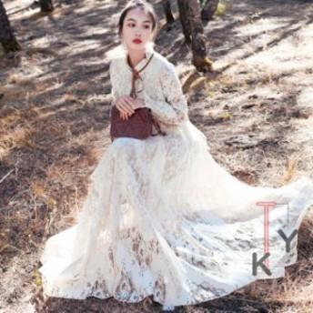 マキシ丈ワンピース 二次会 結婚式ドレス レース お呼ばれ 服 体型カバー カジュアル ロング丈 旅行 海デート リゾート