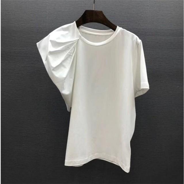 雑志で绍介されました★全2色 半袖Tシャツ フリル 着痩せ スリム ラウンドネック アシンメトリー