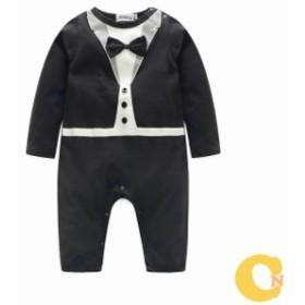 カバーオール 赤ちゃん 長袖 子供服 男の子 ベビー服 キッズ 可愛い オシャレ おめかし お出かけ リボン