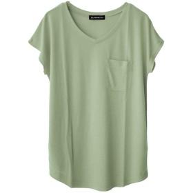 ソーシャルガール Social GIRL 美ライン♪シンプルベーシックTシャツ (puオリーブ(Vネック))