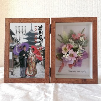 ウェディング【フラワーフォトボックス】両親への感謝状 和風 フラワーボックス 木箱 結婚式 flowerbox010-2