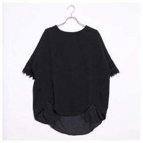 ラナン Ranan 袖口レースTシャツ (BL/BL)