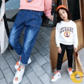 韓国子ども服 ジーンズ カジュアルパンツ  ボトムス キッズ 女の子 女児 子ども ブラック ブルー 110-160cm