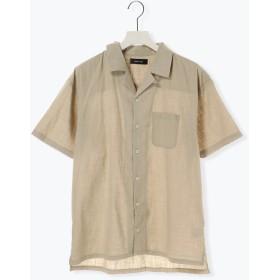 【5,000円以上お買物で送料無料】リネンライクオープンカラーシャツ