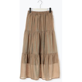 【6,000円(税込)以上のお買物で全国送料無料。】微光沢ワッシャーティアードスカート