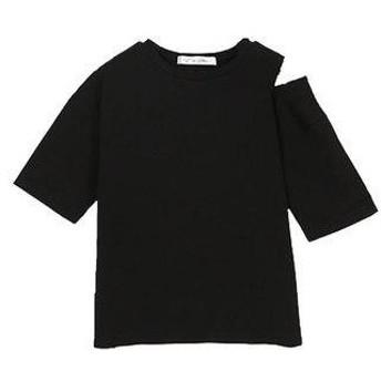 コウベレタス KOBE LETTUCE アシメ肩スリット5分袖プルオーバー [C3740] (ブラック)
