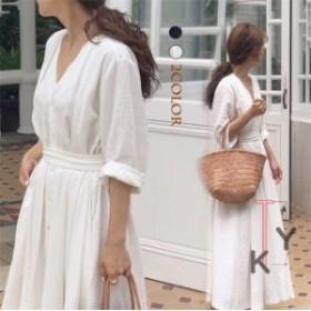 韓国ファッション シャツワンピース レディース  無地 春ワンピース マキシ丈 大人上品 トレンド ワンピース春