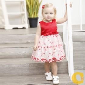 赤色花柄【80-130cm】リボンベビードレス 子どもドレス キッズ出産祝い 赤ちゃん 結婚式七五三 リボン フォーマル ワンピース