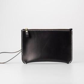 【切線派】本革手縫い持ち手付きセカンドバッグ・クラッチバッグ・ 大収納財布 手染め / 総手縫い