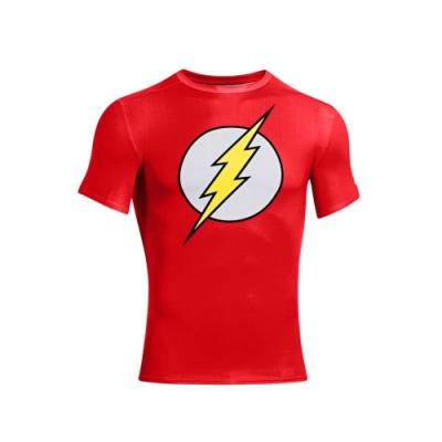 UNDER ARMOUR HG 男運動短袖緊身 T恤-慢跑 路跑 MARVEL UA 紅白