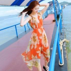 ワンピース ロング ノースリーブ シフォン フレアスカート 花柄 ゆったり Vネック オレンジ 大きいサイズ 夏 20代 30代 デート 海 リゾー