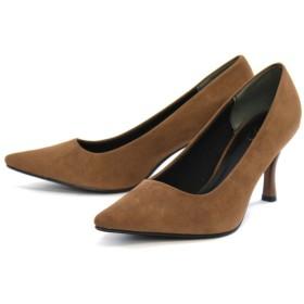 AmiAmi カラーヒールVer 走れるパンプス!低反発&サイドクッション仕様!7cmヒール美脚ポインテッドトゥパンプス ブラウン レディース 5,000円(税抜)以上購入で送料無料 パンプス 夏 レディースファッション アパレル 通販 大きいサイズ コーデ 安い おしゃれ お洒落 20代 30代 40代 50代 女性 靴 シューズ