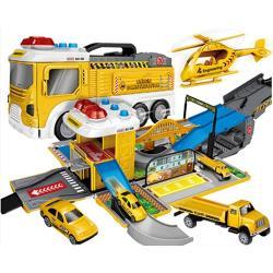 【孩子國】聲光場景賽道變形工程消防車(送4台造型迴力小車)