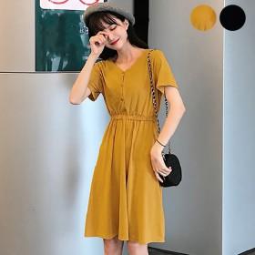 ワンピース - DearHeart ★トレンドファッション♪釦付Vネックワンピース★春夏新作 韓国ファッション