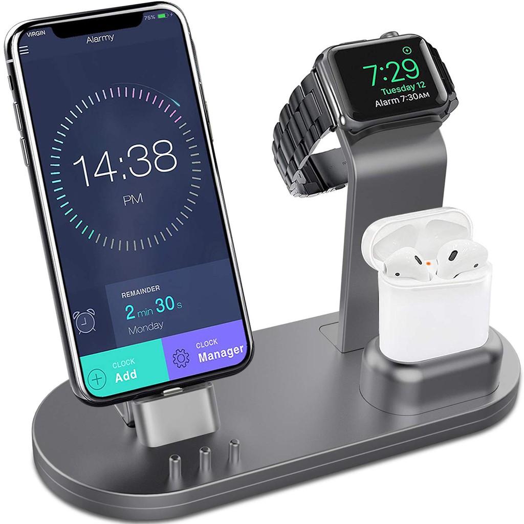 OLEBR鋁合金充電支架適合AirPods/iWatch/iPhone 的手錶充電支架 灰色