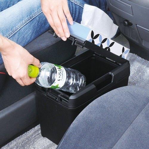 權世界@汽車用品 日本 SEIWA 車用 大容量掀蓋式 低重心 防傾倒 面紙架垃圾桶 W733