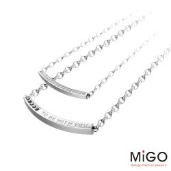 MiGO 青春Young施華洛世奇美鑽/天然寶石/白鋼成對項鍊