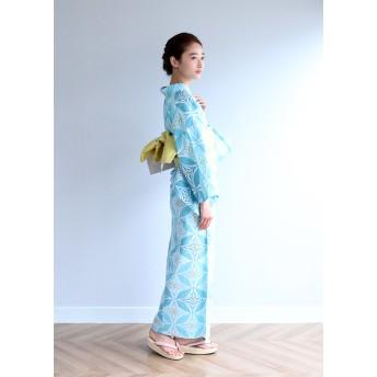 浴衣 - kimonocafe レディース 浴衣 単品 七宝 ライトブルー ネイビー Sサイズ フリーサイズ TLサイズ ワイドサイズ