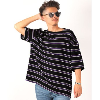 【15%OFF】 ラグスタイル ボーダー柄ボートネック半袖Tシャツ/Tシャツ メンズ 半袖 5分袖 ボートネック ボーダー メンズ ブラック M 【LUXSTYLE】 【タイムセール開催中】