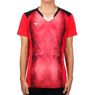 MIZUNO 男排球短袖上衣-2017企業排球聯賽-短T T恤 美津濃 紅黑