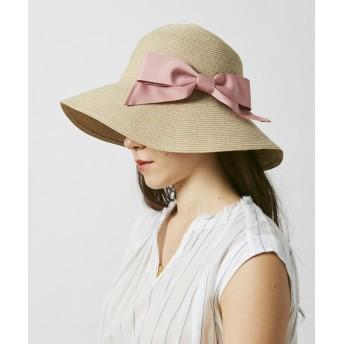 【オンワード】 Hat Homes(ハットホームズ) 【洗えるツバ広ハット】 ミルサ ウォッシャブルブレードリボンキャペリン ピンク 57.5cm レディース