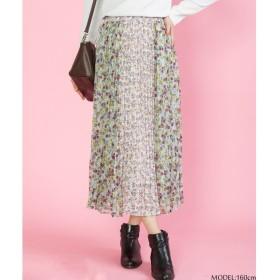 SpRay 花柄パッチワークプリーツスカート ベージュ M レディース 5,000円(税抜)以上購入で送料無料 マキシスカート 夏 レディースファッション アパレル 通販 大きいサイズ コーデ 安い おしゃれ お洒落 20代 30代 40代 50代 女性 スカート
