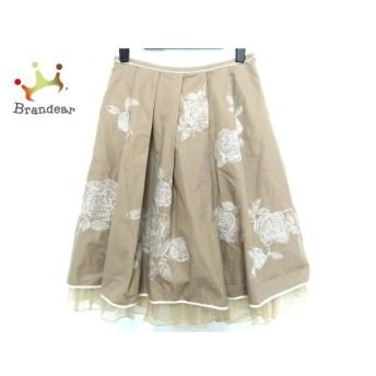 ロイスクレヨン Lois CRAYON スカート サイズM レディース ベージュ×白 刺繍 新着 20190708