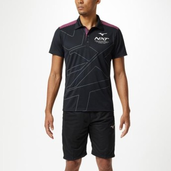 MIZUNO SHOP [ミズノ公式オンラインショップ] N-XTポロシャツ[ユニセックス] 96 ブラック×ピンクグロー 32JA9270