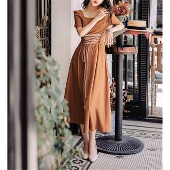 大好評につSALE延長 フレンチ レトロ 中・長セクション ワンビース カジュアル ウエスト スリム ロングスカート 半袖 エレガント 気質 夏 新 ゆったりする 小さい新鮮な スカート