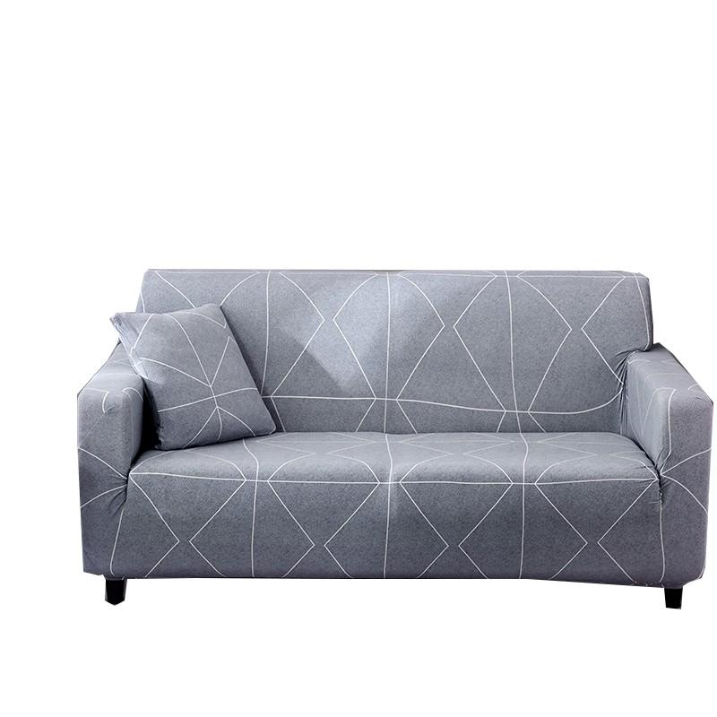 [送枕套壓條] 簡約灰色線條時尚印花沙發套 單人雙人三人四人座尺寸沙發罩 簡約L沙發通用沙發罩