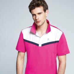 Spar彈性布男版短POLO衫S198216桃紅色